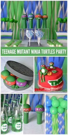 A Teenage Mutant Ninja Turtle boy birthday party with fun party decorations and cake! See more party planning ideas at CatchMyParty.com!