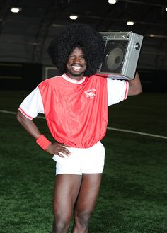 The legendary Emmanuel Eboue. He was required to wear special underpants - as the shorts were too short to cover his goal post.