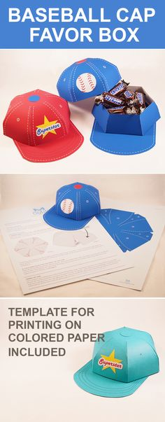 Create an awesome baseball cap favor box. Fun paper Crafts!