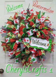 Welcome Watermelon WreathWelcome by CherylsCrafts1 on Etsy