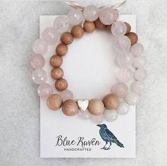 Valentine's Day Duo / Rose Quartz and Rosewood / Essential Oil Diffuser Bracelet / Aromatherapy Bracelet Diy Jewelry, Beaded Jewelry, Jewelry Making, Jewellery, Valentines, Healing Bracelets, Gemstone Bracelets, Diy Crystals, Diy