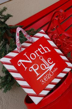 North Pole Sign {CCC} - I Heart Nap Time    I'd like to try this with tiles instead...