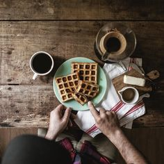 Homemade waffles for @thetylerchase! It was 10:30AM he said he'd had a biscuit at 7...OBVIOUSLY he needed these. Or maybe I have a cooking problem. Either way WAFFLES.  What did you have for breakfast(s) this morning?? #onthetable by tifforelie