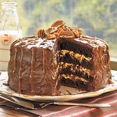 Chocolate, caramel, and pecans are made to be together, and their flavors harmonize perfectly in this stunning chocolate layer cake. Devil's food cake mix with pudding plus chocolate morsels result in brownie-like layers filled and frosted with a jazzed up ready-to-spread fudge frosting. The finishing touches are turtle candies and a drizzling of dulce de leche ice cream topping.