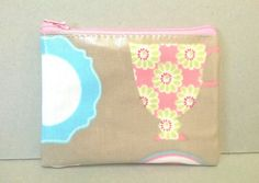 Coin purse in tan with tea cup pattern, Ladies oilcloth change purse, Zipped card wallet, ladies credit card holder, small zipped pouch by KernowClaire on Etsy
