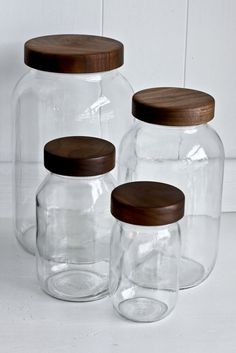 Beautiful mason storage jars with walnut wood tops from Whidbey Island, WA's Turnco Wood Goods