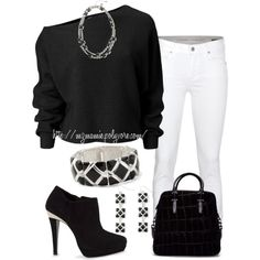 """Black and White"" by mzmamie on Polyvore"