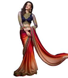 Buy multicolor embroidered satin saree with blouse wedding-saree online