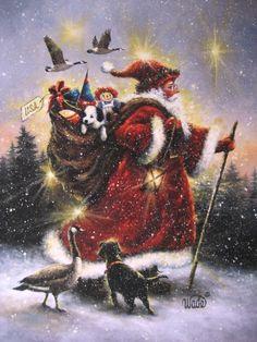 Strolling Santa ~ original oil painting by Vickie Wade