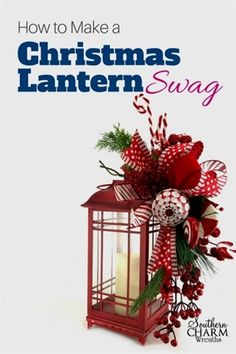 Whats a Lantern Swag? Its a beautiful flower arrangement that attaches to the top of a lantern to bring color into your space. In this video, I show you how to make a festive Christmas Lantern Swag in a peppermint candy theme. Christmas Wreaths To Make, Christmas Swags, Outdoor Christmas, Christmas Projects, Christmas Holidays, Christmas 2019, Christmas Ideas, Cheap Christmas, Christmas Carol