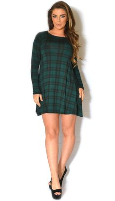 Green Tartan Print Long Sleeved Swing Dress | www.ustrendy.com   #USTrendy