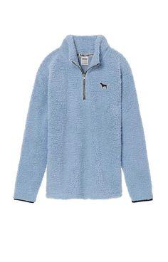 c60ecf0a4d Victoria s Secret Pink Sherpa Boyfriend Quarter Zip Jacket Sweater Sky Blue  M