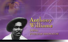 """Williams was born at the General Hospital of Port-of-Spain and grew up in Nepal Street in St. James. Tony Williams was part of the Trinidad All Steel Percussion Orchestra, TASPO, which visited England for the Festival of Britain in 1951. In 1953, Williams presented a soprano pan with the notes laid out in a cycle of fifths. Because the instrument's surface looked like a spider's web, Williams called it the """"Spider Web Pan"""". Calypso Music, Tony Williams, Soca Music, Drums Art, Anthony William, Trinidad Carnival, Port Of Spain, Caribbean Culture, Sweet T"""