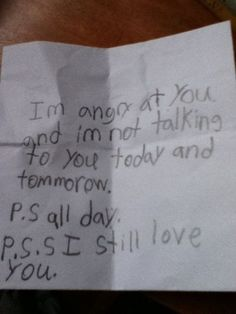 a note from a child to his mother. Too cute, love this :)