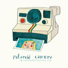 Polaroid Camera by Nelleke verhoeff Red Cheeks Factory Camera Illustration, Red Cheeks, Polaroid Camera, Colour Board, Color, Illustrations And Posters, Great Artists, Holland, Clip Art