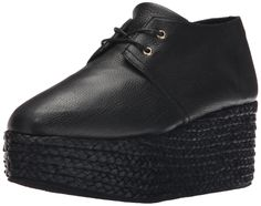 Robert Clergerie Women's Patos Espadrille Wedge Sandal, Black/Black, 39.5 EU/9 B US. Statement-making sneaker featuring pebbled-leather upper atop braid-wrapped wedge. Two-eyelet lacing.