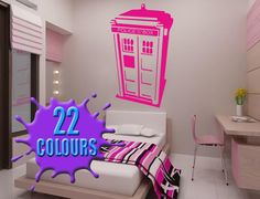Magenta Dr Who Tardis Above A Bed Vinyl Wall Art Decal Sticker