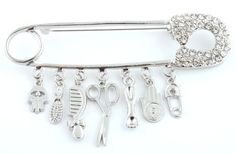Ladies Silver with Clear Iced Out Safety Pin Style with Dangling Hamsa Charms Brooch Pin Pendant JOTW. $6.95. Great Quality Jewelry!. 100% Satisfaction Guaranteed!. The approximate measurements of the brooch & pin is 2.75 inches from top to bottom, 3.75 inches from left to right.