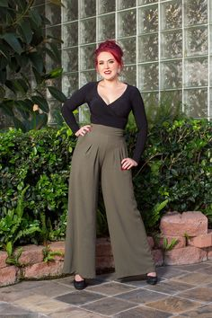 Laura Byrnes California Doris Pant in Olive Crepe | Pinup Girl Clothing