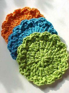 Scrubbies 3 Cotton Crochet Bright Colors 35 by valentinefiberarts, $4.75