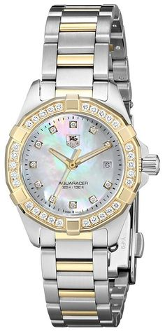 TAG Heuer Women's WAY 1453.BD0922 Aquaracer Diamond-Accented Two-Tone Stainless Steel Bracelet Watch