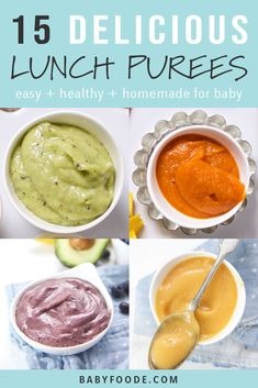 You'll love this collection of 15 easy, healthy, and delicious baby food puress for lunch! These purees are packed with fruits, vegetables, and tons of nutrition (and taste) to keep your baby fully and happy all day. baby food 15 Lunch Purees for Baby Baby Food Recipes Stage 1, Baby Food By Age, Food Baby, Peas Baby Food, Broccoli Baby Food, 7 Month Old Baby Food, 7 Months Baby Food, Baby Puree Recipes, Pureed Food Recipes