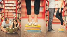 Jessica & Rob's High School Sweetheart Library Engagement Session by Sweet Little Photographs