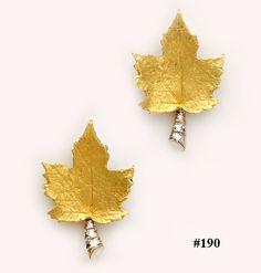 Diamond gold and platinum maple leaf earrings Nelson Rarities, Inc.