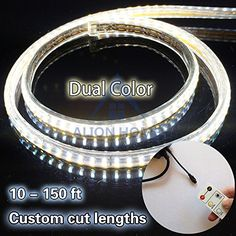AL SMD Strip Lights Dual Color LED Rope Lights Christmas Yard Garden Tree Porch Roof Steps Ceiling Eave Decorations Lighting 3ft-200ft White