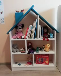 Items similar to Bookcase House Shaped / White&Blue Bookshelf kids / Wooden handmade / Montessori / Kids room on Etsy Blue Bookshelves, Bookcase, Blue Roof, Dramatic Play, Kidsroom, Montessori, Strong, Shapes, Wood