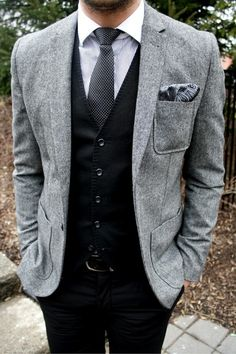 mens fashion | Tumblr - I'm thinking black jeans instead of chinos but other than that I dig the grey tweed on black look.