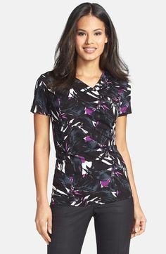 BOSS HUGO BOSS BOSS Floral Print Jersey Top available at #Nordstrom