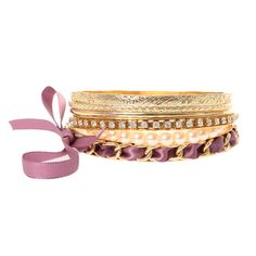 <P>These chic bracelets will add extra elegance to your look. Includes one pearl bracelet, two gold textured bracelets, one smooth gold bracelet, one crystal and gold bracelet and one gold chain with purple ribbon bracelet.</P><UL><LI>Gold tone finish<LI>Set of 6<LI>Bangle</LI></UL>