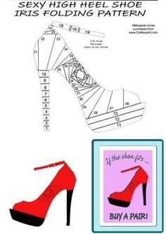 1000 images about paper folding on pinterest iris for High heel template for cards