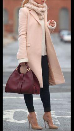 Coat, jeans, heels