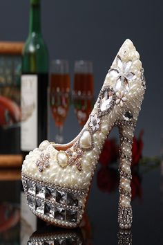 Cheap party dress shoes, Buy Quality wedding dress shoe directly from China shoes ladies Suppliers: White Pearl Rhinestone Formal Shoes Crystal Pearl High Heels Bridal Wedding Dress Shoes Lady Party Dress Shoes ThinHeels Shoes Davids Bridal Shoes, Best Bridal Shoes, Wedding Shoes, Wedding Dress, Ivory Wedding, Pearl Shoes, Crystal Shoes, Bridal Shoes Wedges, Graduation Shoes