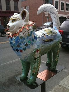 "Catskills, New York - Cat n Around Catskill in the Dog Days of Summer 2013 - ""Venetian Kitty"" - 40+ larger than life painted and decorated fiberglass, feline figures will take up residence along Catskill's Historic Main Street for the 6th year."