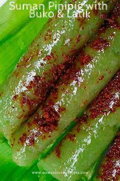 Suman Pinipig with buko and latik is another Bulacan's delicacy. Pinoy Food Filipino Dishes, Filipino Desserts, Asian Desserts, Easy Filipino Recipes, Fancy Desserts, Delicious Desserts, Biko Recipe, Bibingka Recipe, Rice Cake Recipes