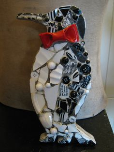 Mosaic Penguin in Black and White with Red Bow Tie