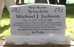 A granite headstone at the burial site at Woodlawn Cemetery in Detroit for the mementos left for singer Michael Jackson outside the Motown Historical Museum Cemetery Monuments, Cemetery Headstones, Old Cemeteries, Cemetery Art, Graveyards, Michael Jackson Grave, Unusual Headstones, Famous Tombstones, Top 40 Hits