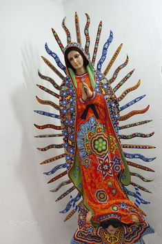 Guadalupe by Huichol artist Jalisco México.                                                                                                                                                                                 Más