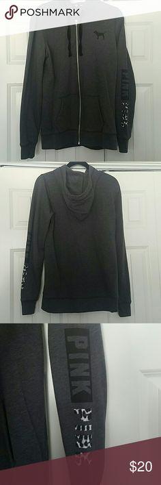 PINK VS Dark Grey zip up W/ print of the sleeve Fairly new Runs big Zip up PINK Victoria's Secret Other