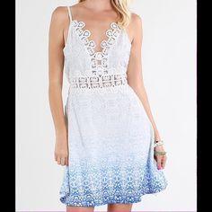 Cream blue dress Please allow 7-10 days to ship. Pre-order! Cream blue Ombre print with lace trim Dresses Mini