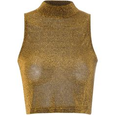 Mustard Lurex High Neck  Top (114.020 IDR) ❤ liked on Polyvore featuring tops, gold, brown sleeveless top, mustard top, high neck sleeveless top, party tops and sleeveless tops