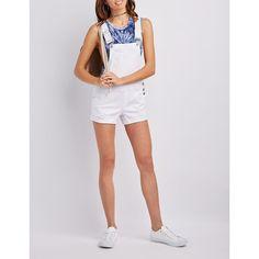 Refuge Destroyed Denim Shortalls ($20) ❤ liked on Polyvore featuring jumpsuits, rompers, white, short bib overalls, denim cut offs, white overalls, bib overalls and white bib overalls