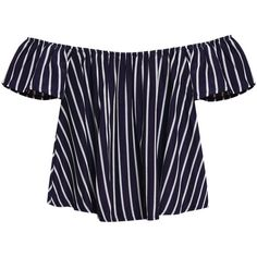 Yoins Off Shoulder Stripe Pattern Top (£9.24) ❤ liked on Polyvore featuring tops, yoins, shirts, navy, navy blue top, short sleeve tops, off shoulder shirt, navy off the shoulder top and off shoulder tops