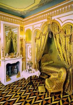 Bedroom of Empress Catherine the Great, The Great Palace, St. Petersburg, Russia by LiveLoveLaughMyLife Palace Interior, Interior And Exterior, Interior Design, Catherine La Grande, Catalina La Grande, Royal Bedroom, Catherine The Great, Summer Palace, Royal Residence