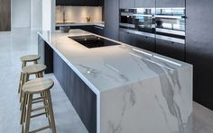 Modern Kitchen Interior - As icons of luxury living, it's little wonder that a kitchen island unit tops our 'most-wanted' list when planning a new kitchen. An attractive island [. Luxury Kitchen Design, Luxury Kitchens, Interior Design Kitchen, Home Design, Home Kitchens, Design Ideas, Kitchen Designs, Kitchen Layouts, Floor Design