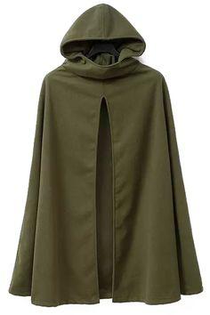 Hooded Cape Design Army Green Coat ARMY GREEN: Jackets & Coats   ZAFUL