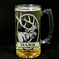 Personalized Elk Beer Stein, Etched Glass, Gift for Groom, Groomsmen, Great personalized gifts for men:  www.BradGoodellWeddings.com